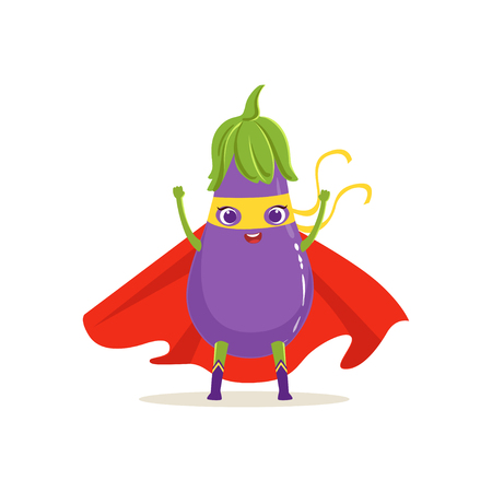 Cartoon character of superhero eggplant in red cape and yellow mask with hands up. Vegetable hero vigilante. Healthy nutrition. Flat vector isolated on white. For card, kid t-shirt, book illustration. Illustration