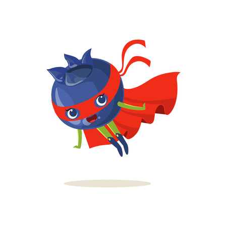 Cartoon character of superhero blueberry in red cape and mask. Flying up. Fresh berry hero vigilante. Healthy nutrition. Flat vector isolated on white. For card, kid t-shirt, book illustration