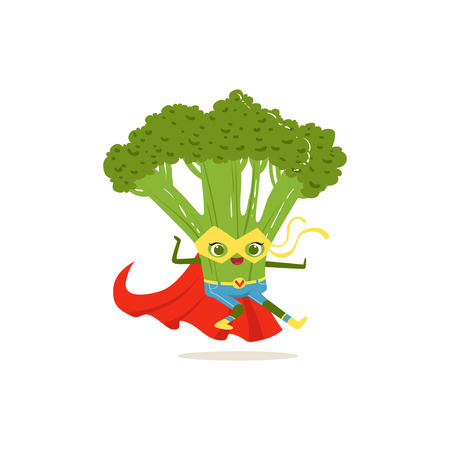 Cartoon character of superhero broccoli in fighter pose