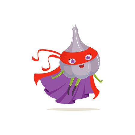 Personaje de dibujos animados de cebolla de superhéroe en pose de vuelo