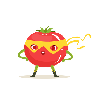 Cartoon character of superhero tomato with arms akimbo