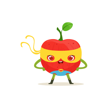 Cartoon character of superhero apple with arms akimbo