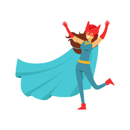 Girl superhero in classic comics costume with cape and helmet with cat ears. Smiling flat cartoon character with super powers. Friendly woman hero have fun. Vector illustration isolated on white