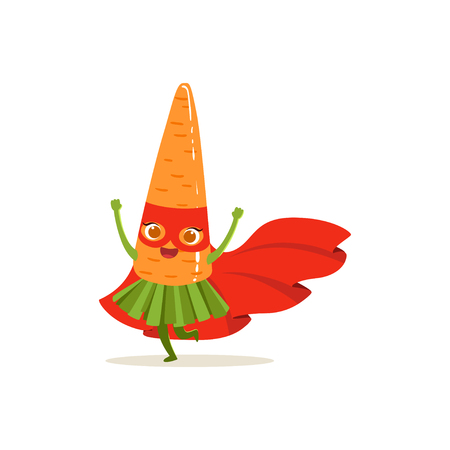 Cartoon character of superhero carrot in red cape and mask with hands up. Vegetable hero avenger have fun. Healthy nutrition. Flat vector isolated on white. For card, kid t-shirt, book illustration.