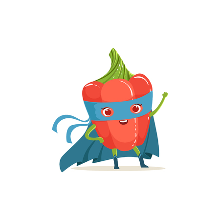 Cartoon character of superhero pepper in blue cape and mask with hand up. Fresh vegetable hero avenger. Healthy nutrition. Flat vector isolated on white. For card, kid t-shirt, book illustration. Illustration
