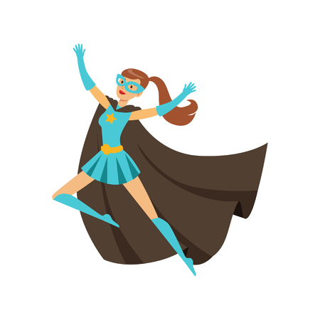 Female superhero in classic comics blue costume with black cape and mask. Smiling flat cartoon character with super powers. Friendly flying woman hero. Vector illustration isolated on white Illustration