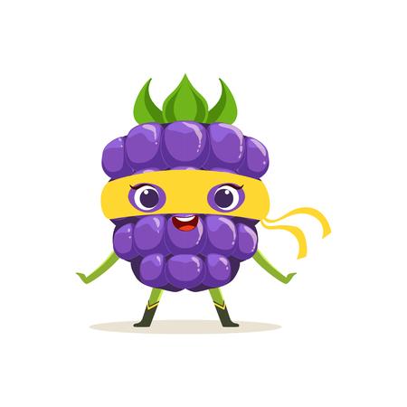 Personaje de dibujos animados de feliz superhéroe blackberry Vectores