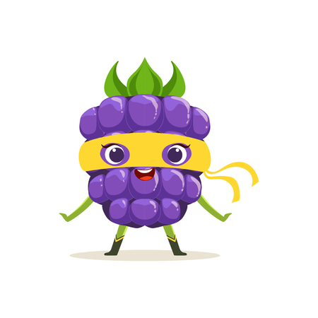 Cartoon character of happy superhero blackberry