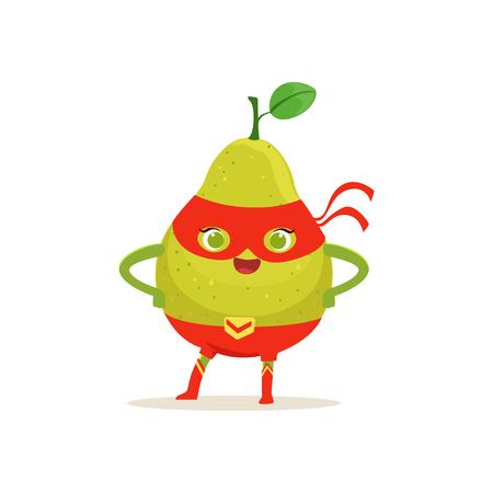 Cartoon character of superhero pear with arms akimbo Иллюстрация