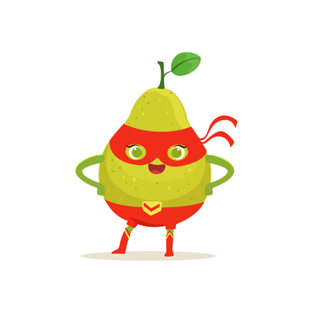 Cartoon character of superhero pear with arms akimbo Illustration