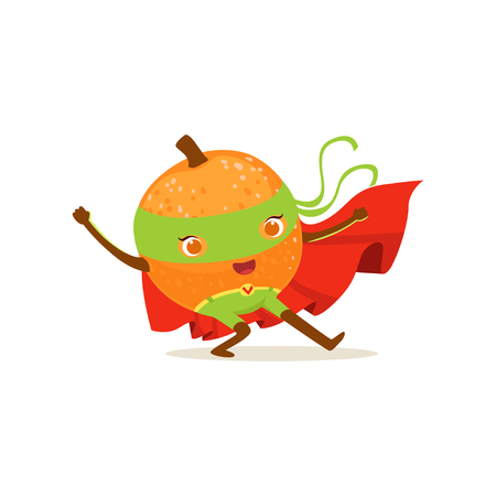 Personaje de dibujos animados de naranja superhéroe con las manos en alto