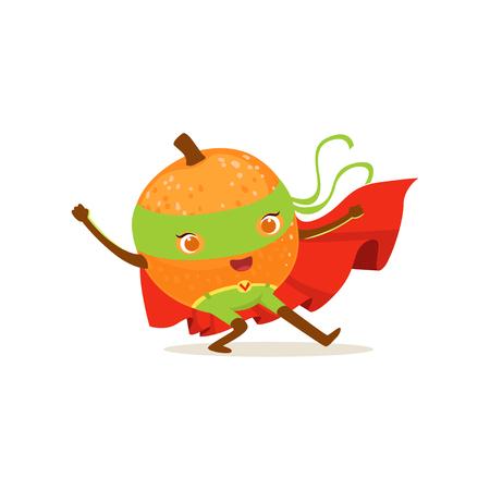 Cartoon character of superhero orange with hands up