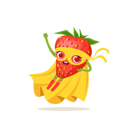 Cartoon character of superhero strawberry flying up Illustration