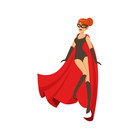 Girl superhero in classic black comics costume with red cape Stock Vector - 88088565