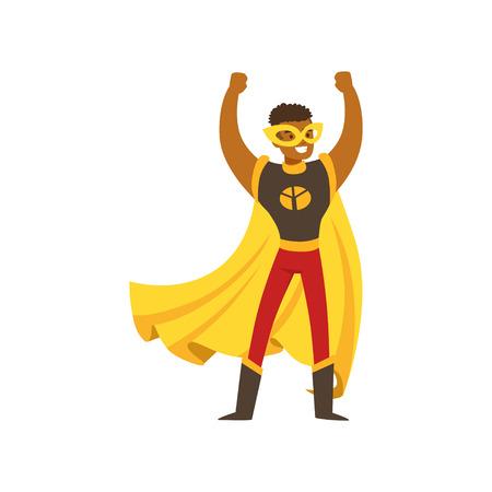 Superhéroe masculino negro en traje de cómic se encuentra con las manos en alto