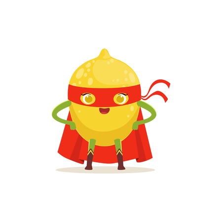 Cartoon character of superhero lemon in red cape and mask with arms akimbo. Fresh fruit hero avenger. Healthy nutrition. Flat vector isolated on white. For card, kid t-shirt, book illustration.