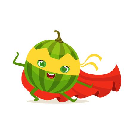 Personaje de dibujos animados de superhéroe sandía en pose de combate