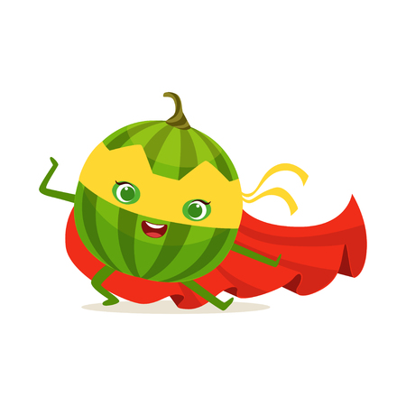 Cartoon character of superhero watermelon in fighter pose Illustration