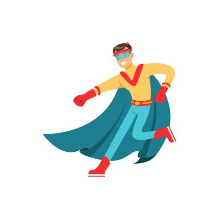 Male superhero in classic comics costume with cape