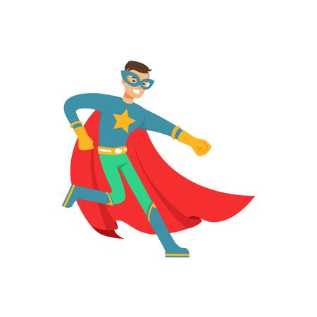 Superhéroe masculino en traje de cómic divertirse