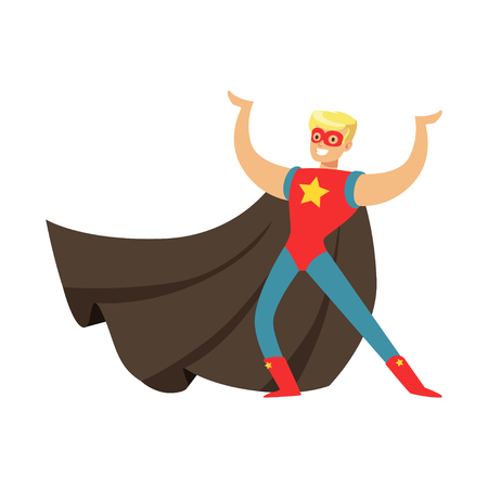 Male superhero in cape posing and showing muscles Stock Vector - 88090647