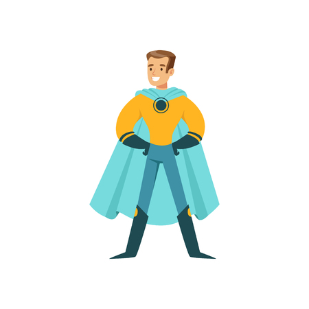 Male superhero in classic comics costume with cape and glowes. Smiling flat cartoon character with super powers. Friendly cheerful man standing proud and posing. Vector illustration isolated on white
