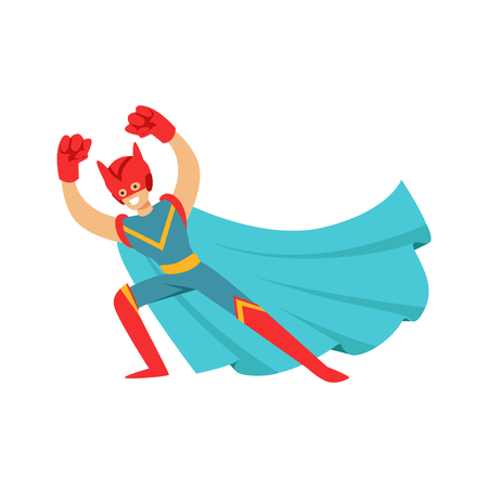Male superhero in classic comics costume with cape, strong arms and helmet with cat ears. Smiling flat cartoon character with super powers. Friendly man have fun. Vector illustration isolated on white