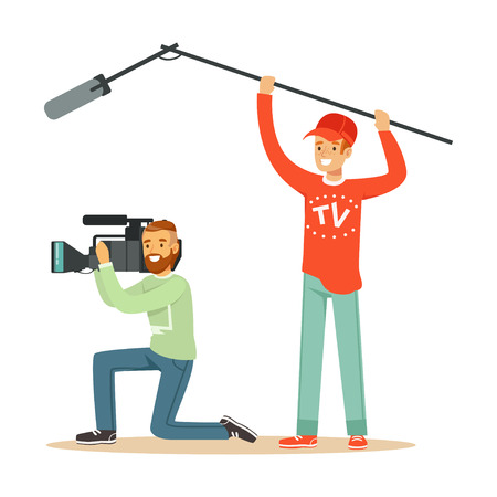 Videographer with camera and man with microphone on extension telescopic rod. Film crew member. Cartoon men characters. TV people at work. Flat vector illustration isolated on white background