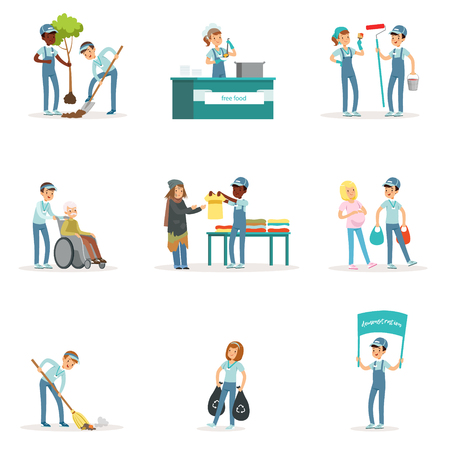 Satz junger Freiwilliger: Gartenarbeit, Müllreinigung, Hilfe für alte und obdachlose Menschen Aktivitäten zur sozialen Unterstützung. Zeichentrickfigur. Vector Illustration in der flachen Art, die auf weißem Hintergrund lokalisiert wird.