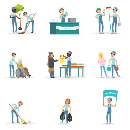 Ensemble de jeunes volontaires: jardinage, nettoyage des ordures, aide aux personnes âgées et aux sans-abri. Activités de soutien social. Personnage de dessin animé. Illustration vectorielle dans un style plat isolé sur fond blanc.