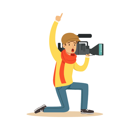 Television camera operator stands on his knees with hand up, ready recording news material. Film crew member. Cartoon camera man character. TV people at work. Flat vector isolated on white