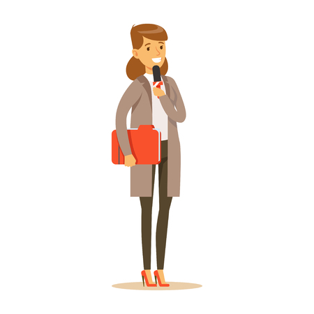 Young cheerful woman journalist with folder speaks into microphone. Cartoon female journalist character concept. TV people at work. Vector illustration in flat style isolated on white background. Illustration