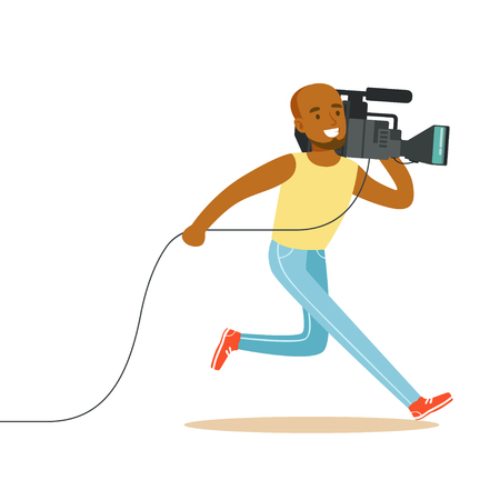 Running television video operator records live news by professional camcorder. Cartoon camera man character concept. TV people at work. Vector illustration in flat style isolated on white background.