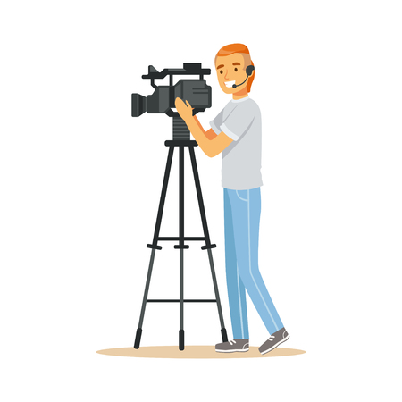 Happy television video operator standing with camera on tripod, recording news material. Film crew member. Cartoon camera man character. TV people at work. Flat vector illustration isolated on white
