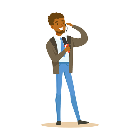 Young cheerful black man breaking news reporter speaks into microphone. Cartoon male journalist character concept. TV people at work. Vector illustration in flat style isolated on white background. Illustration