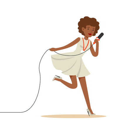 Black-skinned woman media news journalist running to take interview. Cartoon female reporter character concept. TV people at work. Vector illustration in flat style isolated on white background.