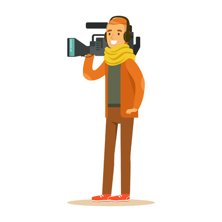 Smiling television video operator standing with professional camcorder and headphones. Cartoon camera man character. TV people at work. Vector illustration in flat style isolated on white background.