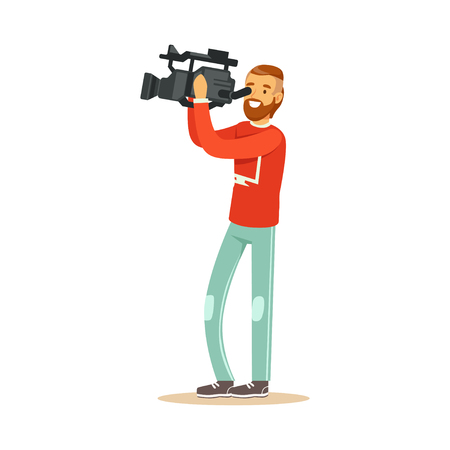 Smiling television video operator in red jacket and blue jeans looking through professional camcorder. Cartoon camera man character. TV people at work. Flat vector illustration isolated on white.