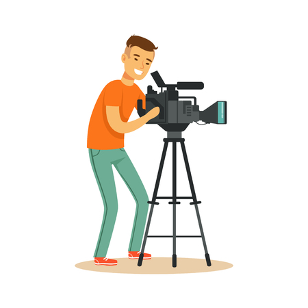 Cheerful television video operator looking through professional camcorder on tripod. Cartoon camera man character. TV people at work. Vector illustration in flat style isolated on white background.