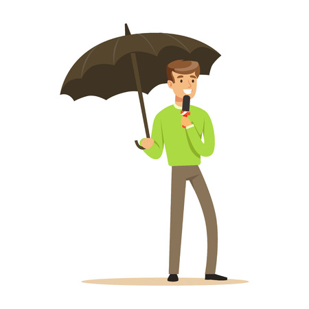 Man reporter with microphone stands under umbrella and tells news. Cartoon male journalist character concept. TV people at work. Vector illustration in flat style isolated on white background.