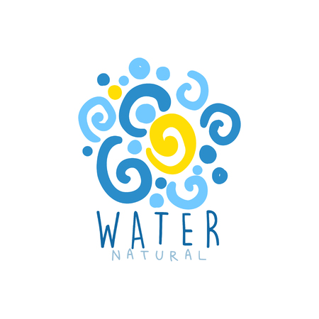 Hand drawn signs of pure water for  badge with text. Abstract blue patterned whirlpool. Kids drawing style, ecology theme. Vector natural aqua label for mineral water isolated on white.