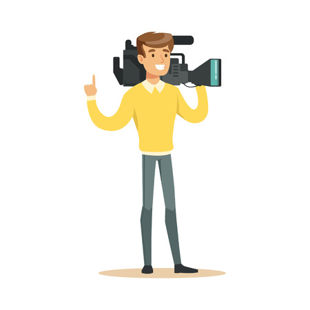 Smiling television video operator with professional camcorder standing with hand up. Cartoon camera man character. TV people at work. Vector illustration in flat style isolated on white background.