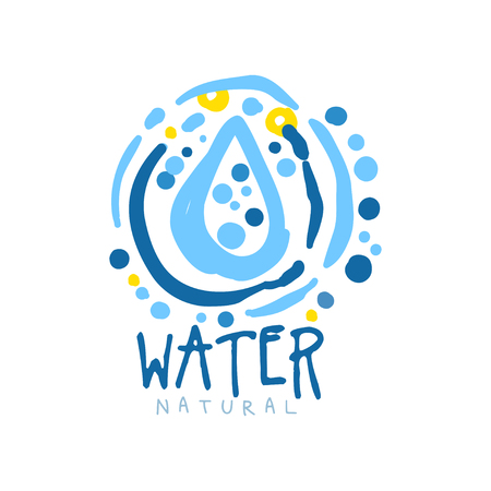 Hand drawn signs of pure water. Abstract blue patterned whirlpool frame with drop inside. Kids drawing style, ecology theme. Vector natural aqua label for mineral water isolated on white. Çizim