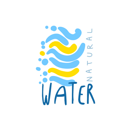 Hand drawn signs of pure water for  badge with text. Abstract blue and yellow waves. Kids drawing style, ecology theme. Vector natural aqua label for mineral water isolated on white.