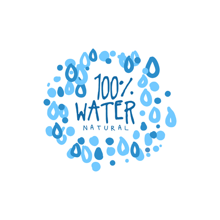 Hand drawn signs of pure water  with text. Abstract blue drops frame. 100 percent natural. Kids drawing style, ecology theme. Vector natural aqua label for mineral water isolated on white. Illustration