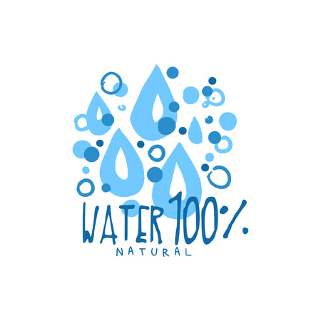 Hand drawn signs of pure water for  badge with text. Abstract blue drops. 100 percent natural. Kids drawing style, ecology theme. Vector natural aqua label for mineral water isolated on white. Иллюстрация