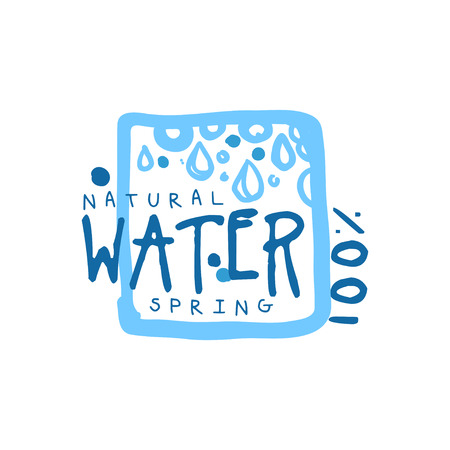 Hand drawn signs of pure spring water in square  badge with text. 100% natural. Abstract blue drops. Kids style, ecology theme. Vector natural aqua label for mineral water isolated on white.
