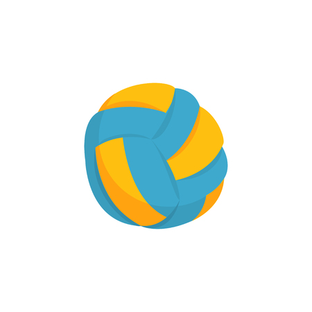 Colorful beach volleyball ball icon isolated on white background. Blue and yellow. Equipment for activity play, competition, tournament. Item for team sport. Cartoon vector illustration in flat style.