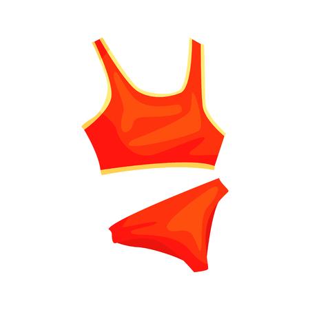Sous-vêtements athlétiques de la femme rouge pour la forme physique et les jeux actifs. Maillot de bain de plage pour le volleyball. Vêtements de sport. Vêtements d'entraînement. ? Artoon vecteur plat illustration personnage isolé sur blanc. Banque d'images - 88142670
