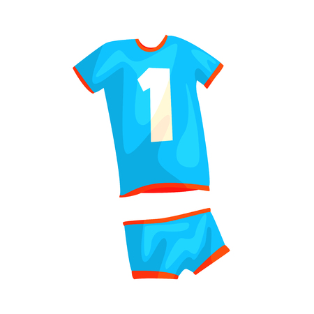 Volleyball uniform for manwoman in flat style. Blue sportswear for game or tournament. Sport player clothing for activity play. Specific apparel. Vector illustration icon isolated on white background Illustration
